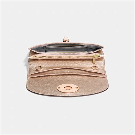 82 coach clutches wallets coach coach clutch wallet with chain in metallic crossgrain leather in pink lyst