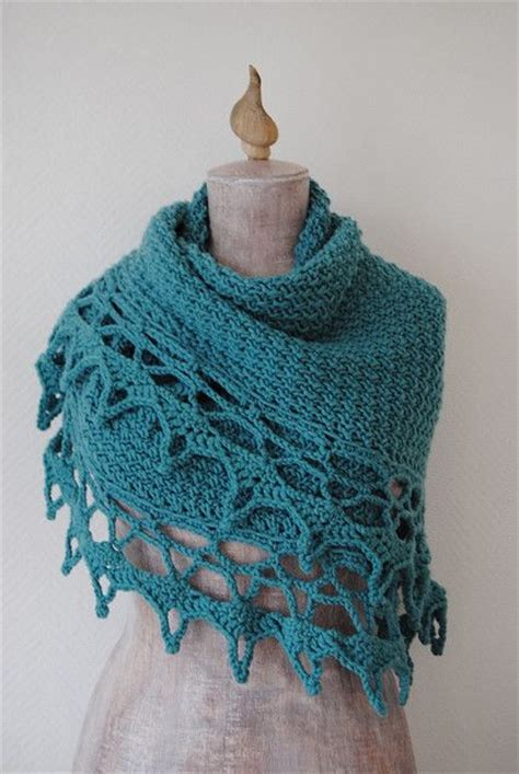 knitted shawl with crochet edging scarf shawl