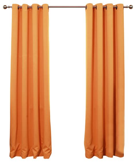 orange blackout curtains solid grommet top thermal insulated blackout curtains 1