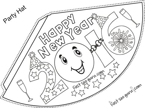 new year hat coloring pages printable happy new year party hats coloring for kids