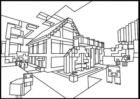 minecraft village coloring page minecraft cabin in the woods coloring page minecraft