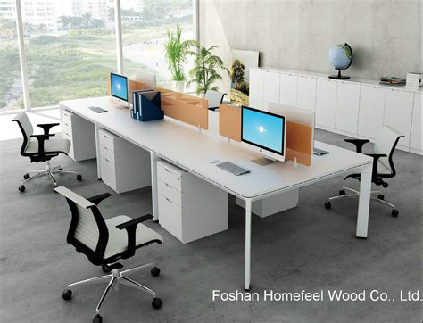 Modern Workstation Desk China Modern Office Furniture Linear Shape 4 Seater Workstation Table With Screen Divider Hf