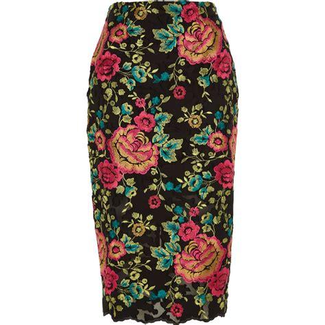 black floral embroidered pencil skirt midi skirts