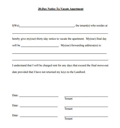30 day notice template 9 download free documents in pdf