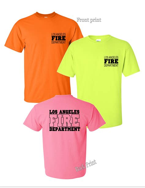 lafd logo print neon colors t shirts attire