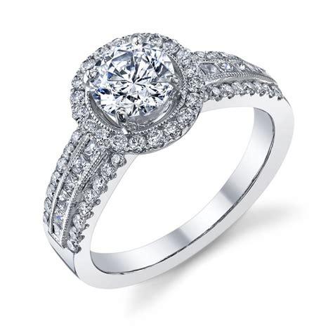 wide band halo engagement ring 1040er gold n