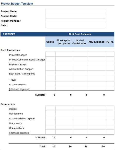 project costs template project budget template cyberuse