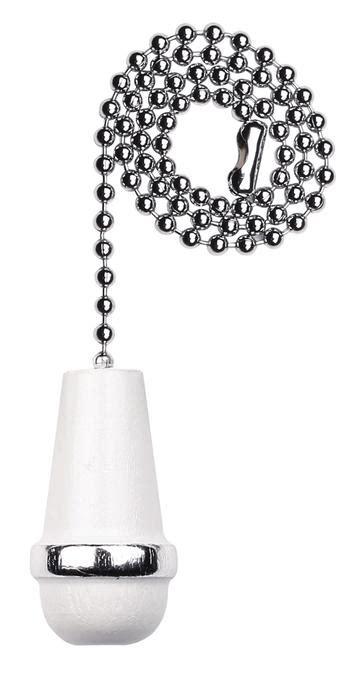 Ceiling Fan Pull Chain Accessories by Westinghouse White Wooden Cone Pull Chain Chrome Finish