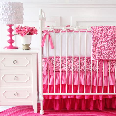 girly bed sets girly pink leopard ruffle crib bedding set by caden lane