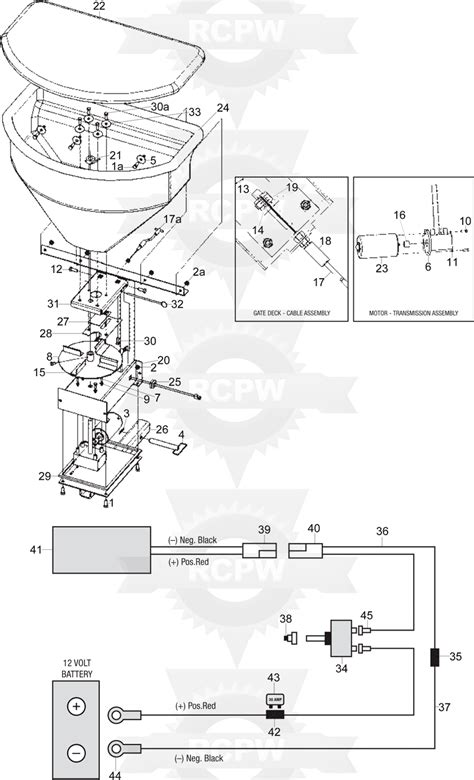 snowex  tailgate salt spreader diagram rcpw parts