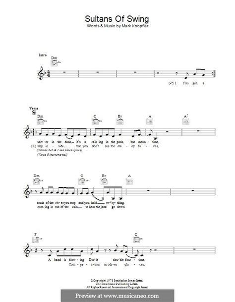 sultans of swing lyric sultans of swing dire straits by m knopfler sheet