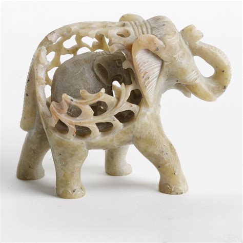 Soapstone Jewelry Double Carved Elephant