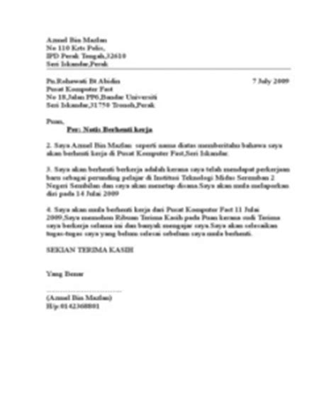 contoh surat berhenti kerja di hotel contoh o