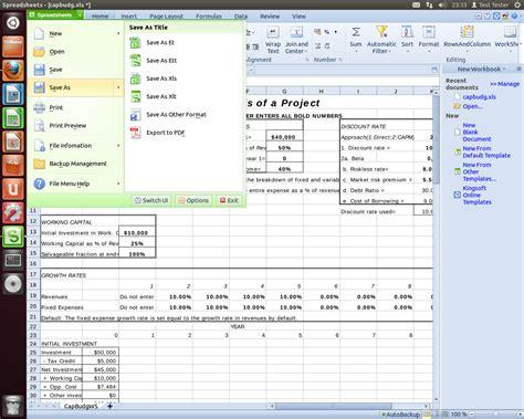 Kingsoft Spreadsheet by Kingsoft Office Bzw Wps Office Als Natives Linux Office