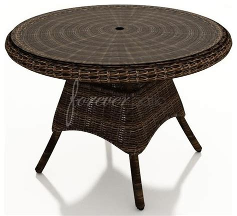 Traditional Glass Dining Table Wicker Forever Patio Leona 42 Quot Dining Table With Glass Top Traditional Outdoor Dining
