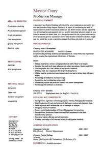 Manufacturing Manager Resume Samples Production Manager Resume Sample Best Resume Gallery
