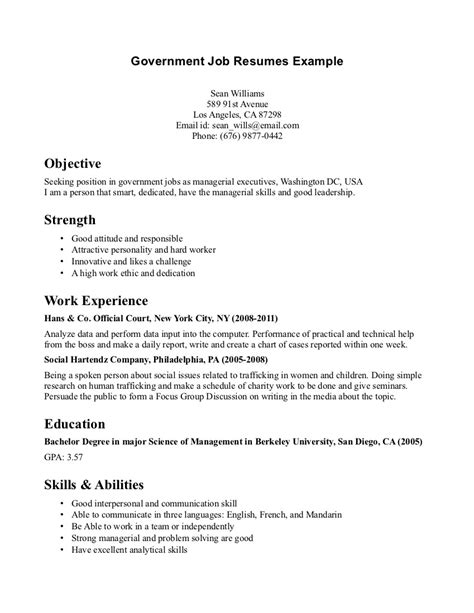 Resume Samples By Job by Government Job Resumes Example