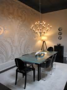 Dining Room Wallpaper Accent Wall by Rustic Living Room Damask Dining Room Chairs