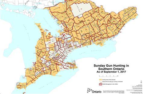 map of ontario sunday gun ontario ca