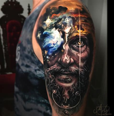 morph tattoo nebula sunset morph best design ideas
