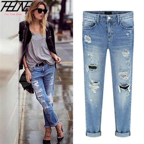 jean lengths for spring 2015 2015 spring new women jeans ripped holes fashion straight
