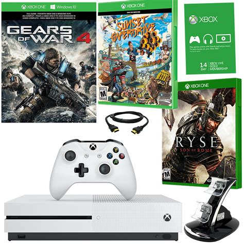 microsoft xbox one s 1tb gears of war 4 bundle with 2