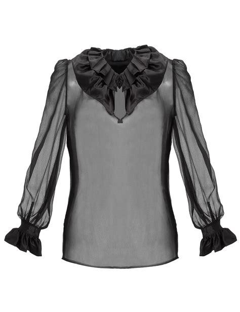 Black Blouse co black silk ruffled blouse in black lyst