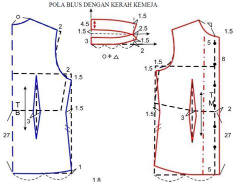 pola menjahit celana joger wanita dewasa pola blus dengan kerah kemeja