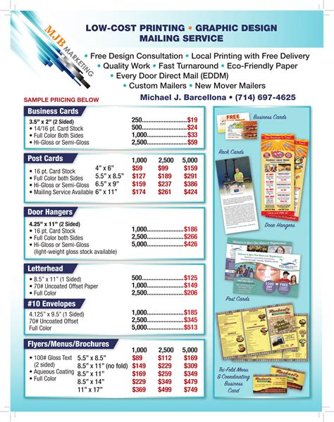 design flyer cost sle low cost print prices mjb marketing direct mail