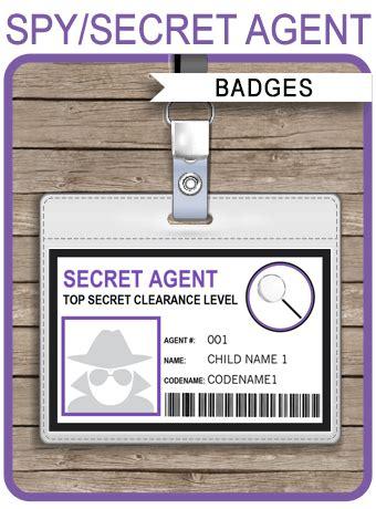 printable spy id cards girls secret agent badge template spy badge printable