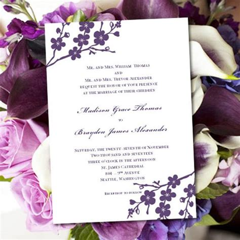 Invitation Printable Wedding Template Avery Purple Avery Invitation Templates Free