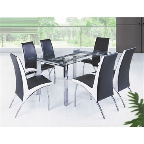 contemporary rectangular glass dining table and 4 dining