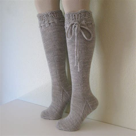 knit knee high socks knee high socks lace dove grey by pinkcandystudio on etsy