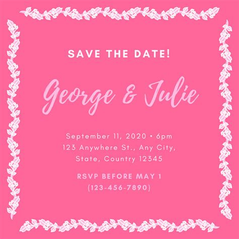 Wedding Reception Borders by Save The Date Invitation Templates Canva