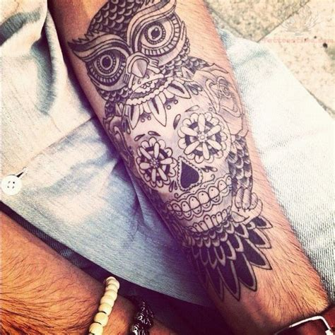 owl and sugar skull tattoo sugar skull and owl on arm