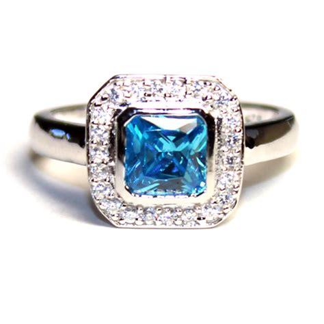 princess cut aquamarine blue promise ring beautiful