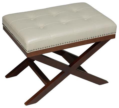 upholstered x bench ottoman cortesi home cortesi home ch ot168180 kayla black x