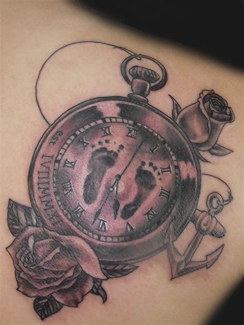 pocket watch and roses tattoo anchor and pocket design