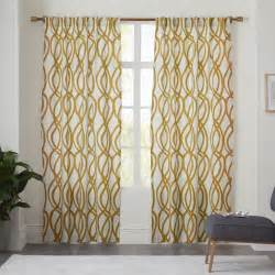 Modern Pattern Curtains Cotton Canvas Scribble Lattice Curtain Horseradish West Elm