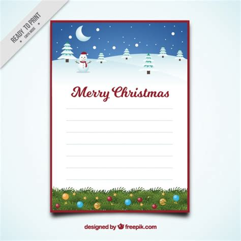 merry christmas letter template snowy landscape