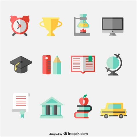 icon design concept education concept flat icons set vector free download