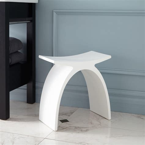 Bathroom Stools For Showers Cygni Resin Bath Stool White Matte Finish Shower Seats Bathroom Accessories Bathroom