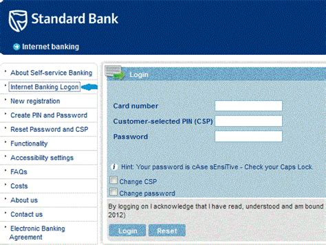 stadard bank standard bank banking log on banking