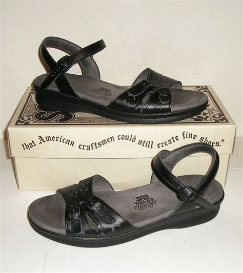 sas sandals womens sas duo s black leather sandals shoes 8 n narrow