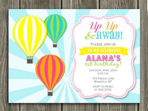 balloon card template printable air balloon birthday invitation