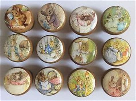 Decoupage Knobs - handcrafted beatrix potter rabbit friends