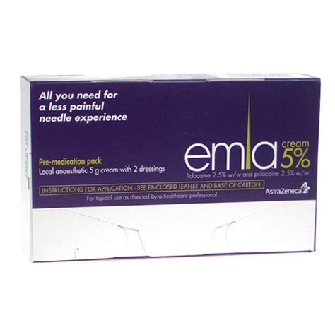 emla cream 5 pre injection kit 5g with 2 dressings