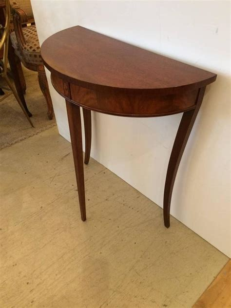 Small Demilune Table by Lovely Small Mahogany And Satinwood Inlay Demilune Console