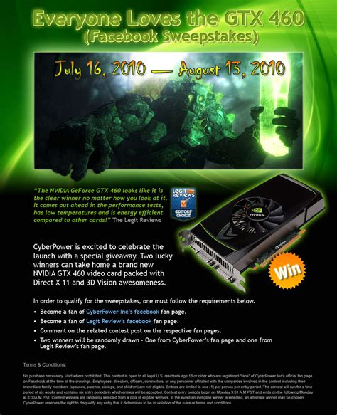 How To Tell If A Sweepstakes Is Legitimate - nvidia geforce gtx 460 facebook fan page sweepstakes legit reviewscyberpower and