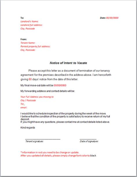 notice letter landlord notice intent vacate